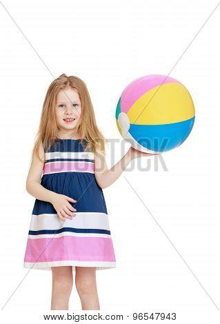 Girl holding a ball