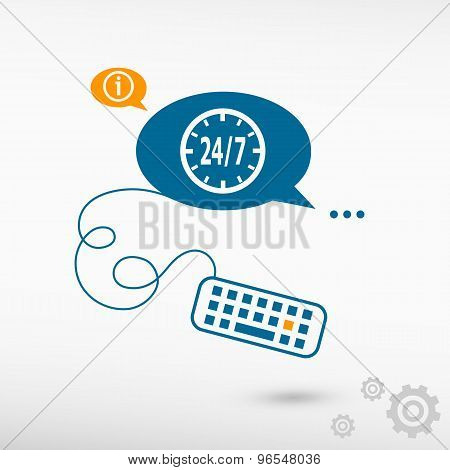 24 Hours Service Sign And Keyboard On Chat Speech Bubbles