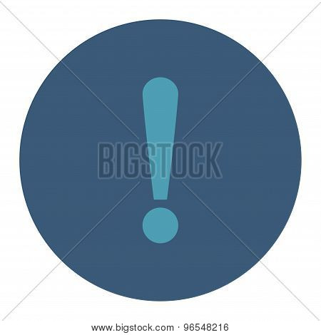 Exclamation Sign flat cyan and blue colors round button