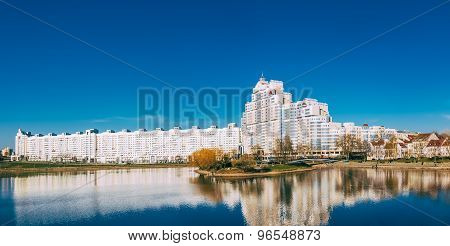 Building In Minsk, Downtown Nyamiha Nemiga View With Svisloch River, Belarus,
