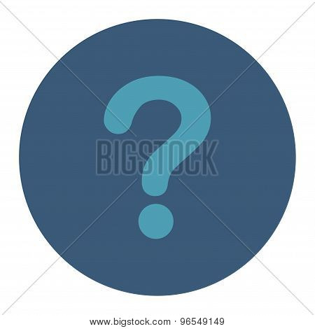 Question flat cyan and blue colors round button