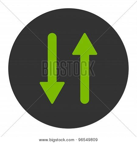 Arrows Exchange Vertical flat eco green and gray colors round button