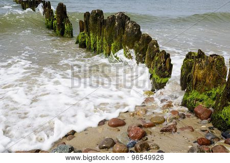 Old And Rotten Wooden Breakwaters