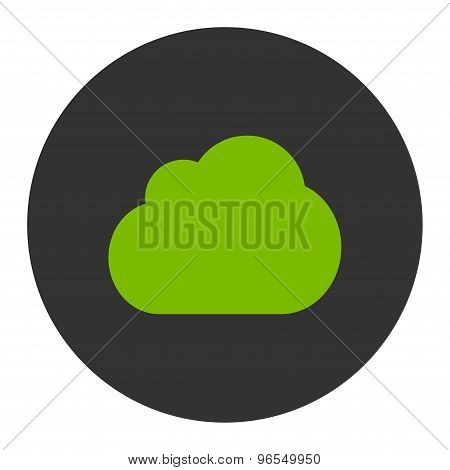 Cloud flat eco green and gray colors round button