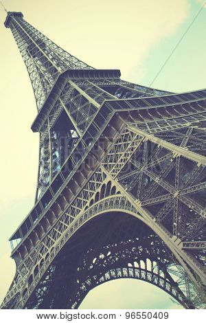 Eiffel Tower in Paris, France. Retro style toned image