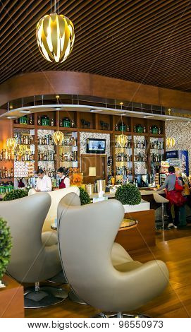 Modern and comfortable bar on airport territory