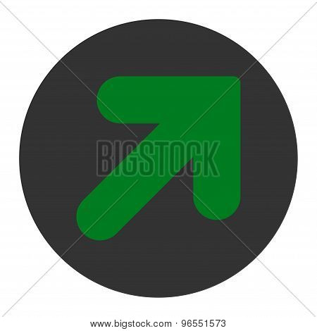 Arrow Up Right flat green and gray colors round button
