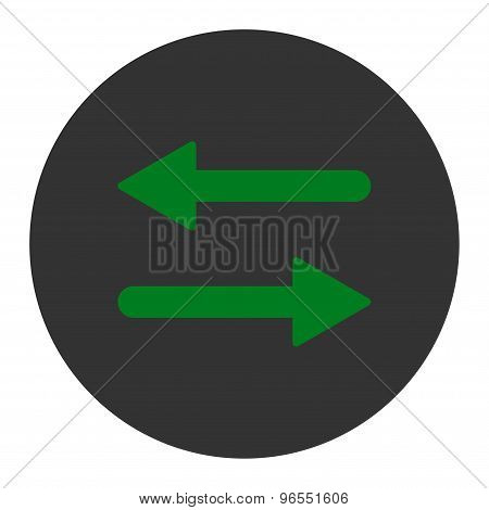Arrows Exchange Horizontal flat green and gray colors round button