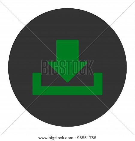 Download flat green and gray colors round button