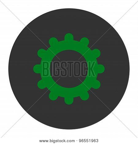 Gear flat green and gray colors round button