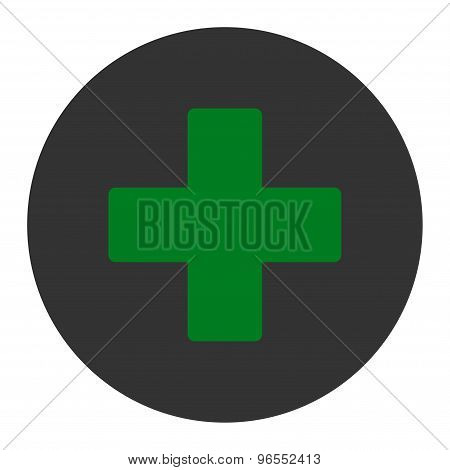 Plus flat green and gray colors round button