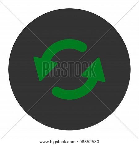 Refresh Ccw flat green and gray colors round button