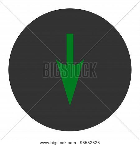 Sharp Down Arrow flat green and gray colors round button