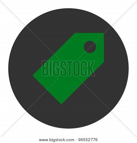 Tag flat green and gray colors round button