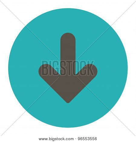 Arrow Down flat grey and cyan colors round button