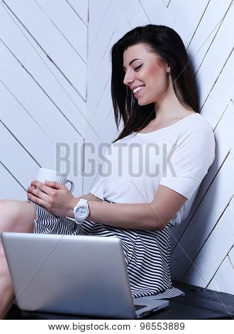 Lifestyle. Cute woman at home