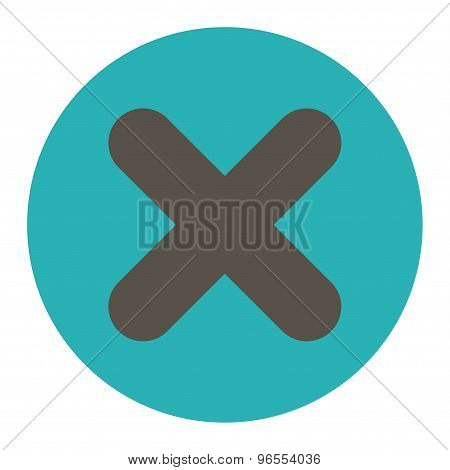 Cancel flat grey and cyan colors round button