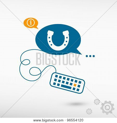 Horseshoe Icon And Keyboard On Chat Speech Bubbles