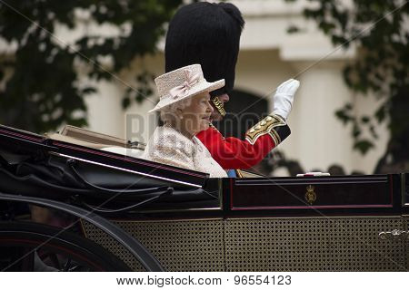 Queen Elizabeth II in open carriage