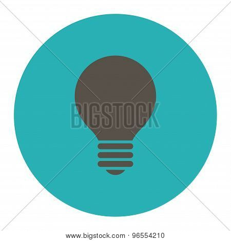 Electric Bulb flat grey and cyan colors round button
