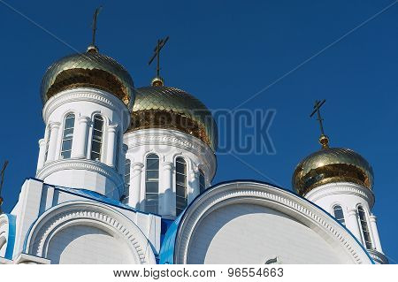 Cupolas of the cathedral of Astana city in Astana, Kazakhstan.
