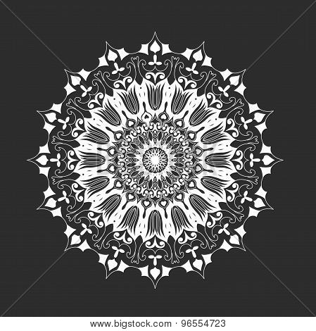 white round mandala on black background, abstract ornament design element