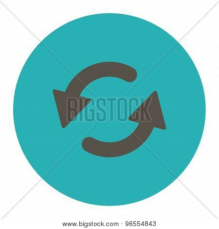Refresh Ccw flat grey and cyan colors round button