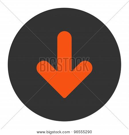 Arrow Down flat orange and gray colors round button