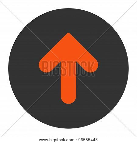 Arrow Up flat orange and gray colors round button