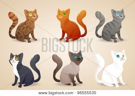 Set of cute cartoon cats with different colored fur and type of coat, breeds. Isolated.
