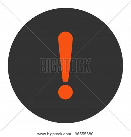 Exclamation Sign flat orange and gray colors round button