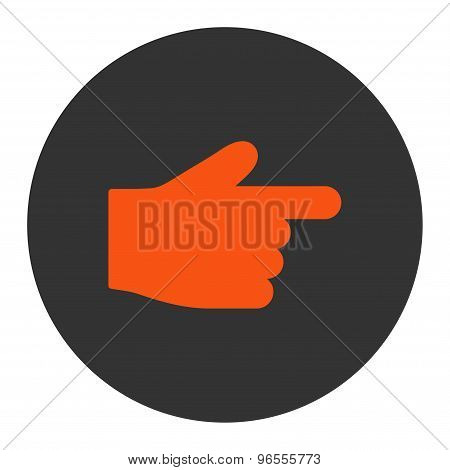 Index Finger flat orange and gray colors round button