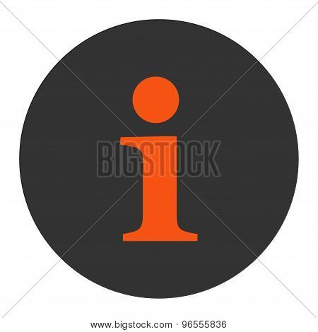 Info flat orange and gray colors round button