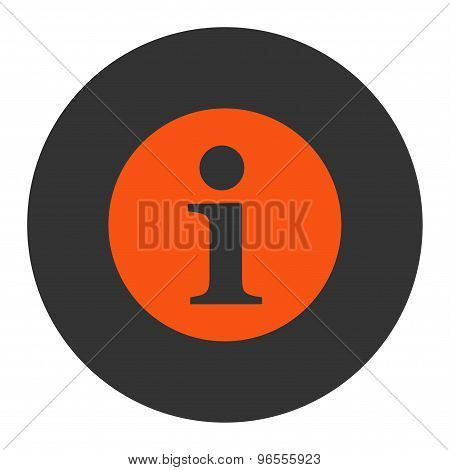 Information flat orange and gray colors round button