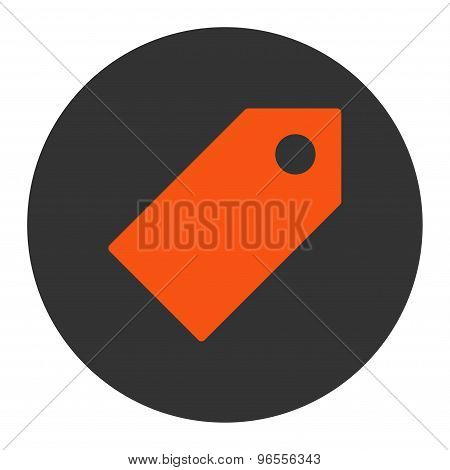 Tag flat orange and gray colors round button