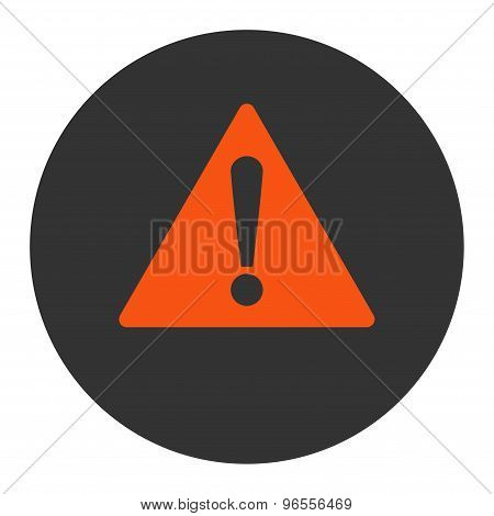 Warning flat orange and gray colors round button