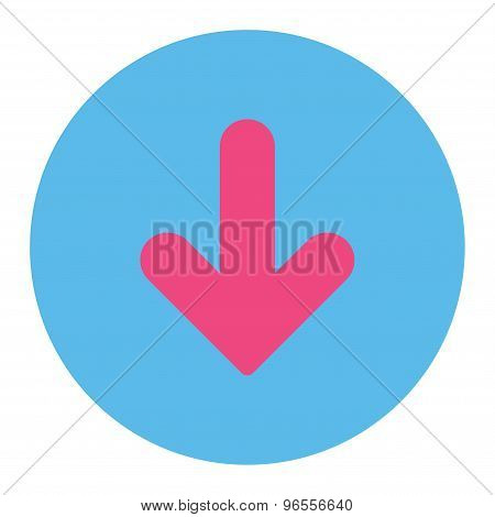 Arrow Down flat pink and blue colors round button
