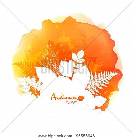 Autumn vector watercolor stain with white foliage silhouette