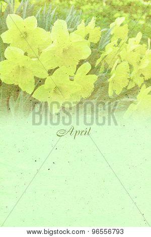 Stylized Vintage Background For Calendar Month. April