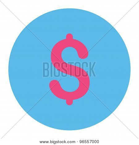 Dollar flat pink and blue colors round button