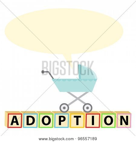 An image of a baby stroller with blank chat bubble with adoption text.