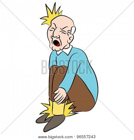 An image of a cartoon man with pain in his feet.