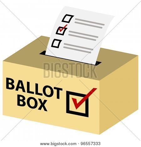 An image of a 3d voting ballot box with red checkmark.
