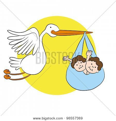 An image of a cartoon stork delivering twin children.