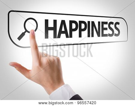 Happiness written in search bar on virtual screen