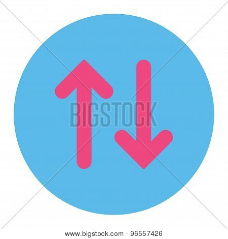 Flip flat pink and blue colors round button