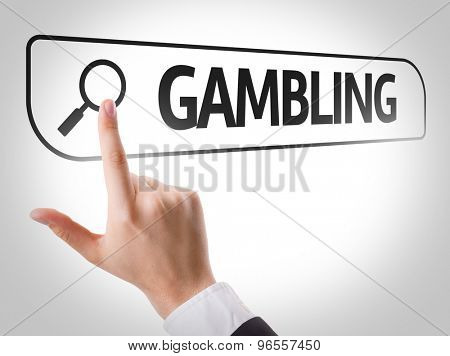 Gambling written in search bar on virtual screen