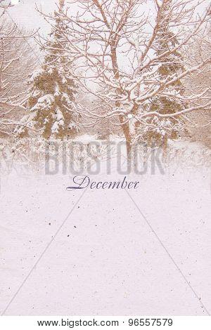 Stylized Vintage Background For Calendar Month. December