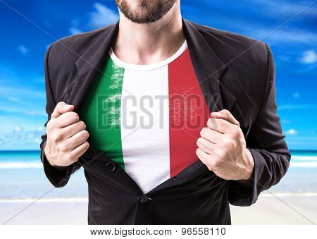 Businessman stretching suit with Italian Flag