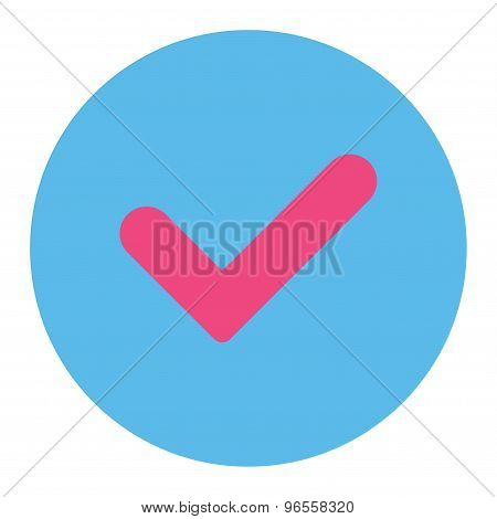 Yes flat pink and blue colors round button